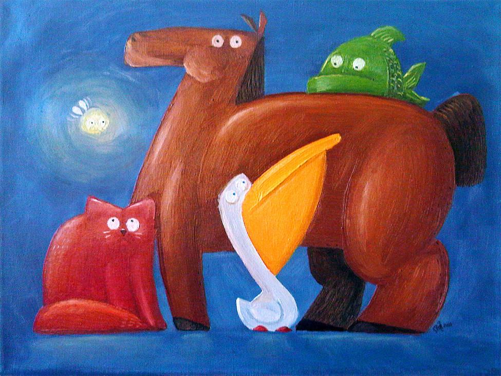 Лошадь, рыба, кошка, пеликан и светлячок