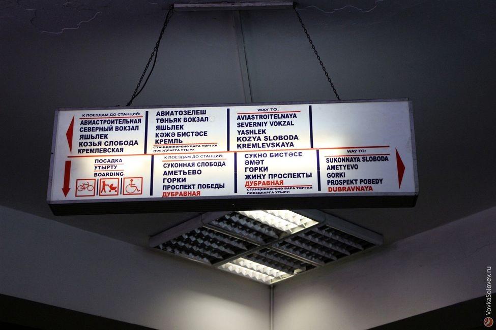 Потолочный указатель направлений на станции метро Площадь Тукая в Казани.