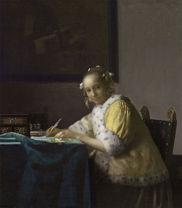 Jan Vermeer, 1665, A Lady Writing a Letter